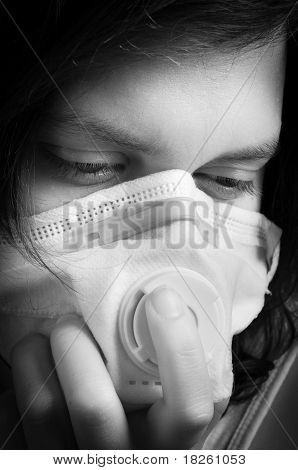 Girl Wearing Protective Mask In Black And White
