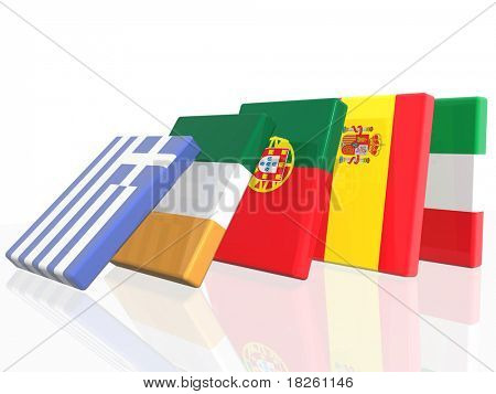 3D Domino effect in European country's flags   - isolated over  white background