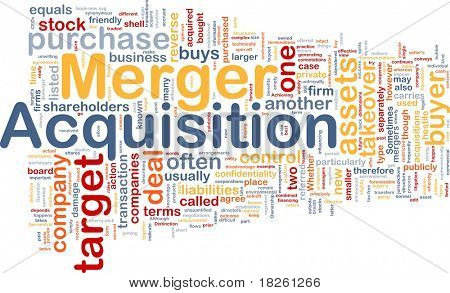 Background concept wordcloud illustration of merger acquisition