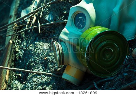 Vintage Gasmask On Burnt Down Ground