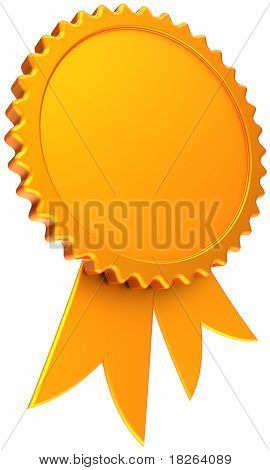 Golden award ribbon with blank round place