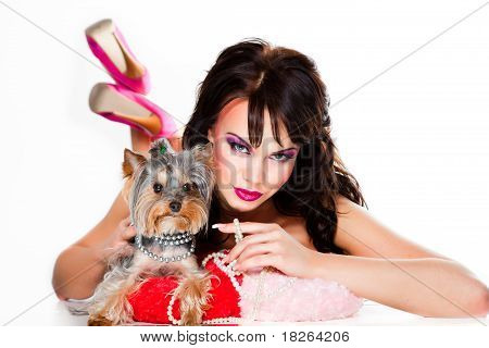 beautiful girl with yorkshire terrier