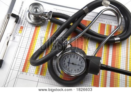 Medical Charts And Stethoscope