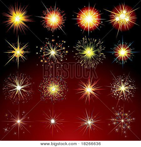 Festive Brightly Fireworks,Sparks and Flares - vector design elements collection