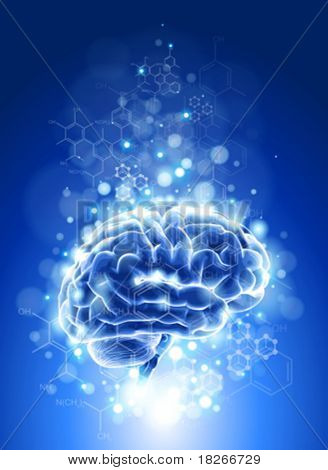 brain, chemical formulas &  lights - blue technology concept