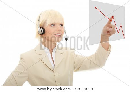 Call center woman with headset pressing abstract button. Over abstract blue background