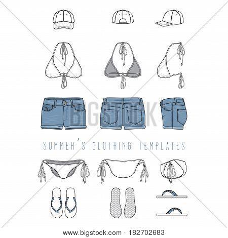 Vector Illustration Of Female Beach Clothing Set   Bikini Swimwear, Jeans  Shorts, Cap,