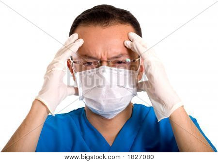 Stressed Male Nurse