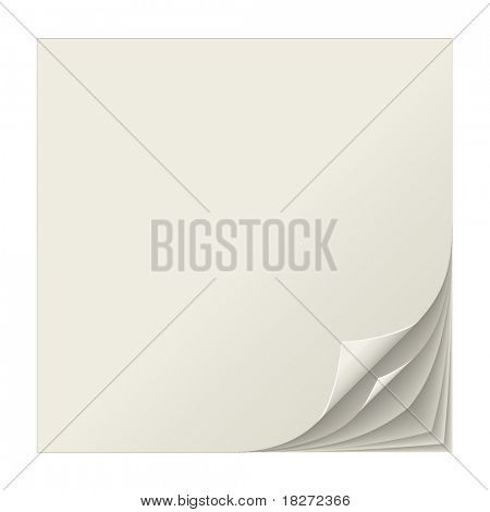 Realistic multiple curled page corners vector illustration.