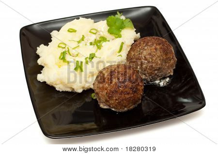 Meatballs With Mashed Potato On The Plate Closeup
