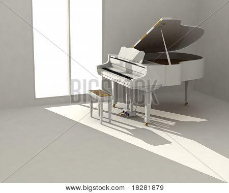 Piano blanco en sala blanca
