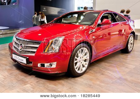 Moscow, Russia - August 25:  Red Car Cadillac Cts At Moscow International Exhibition