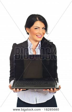 Businesswoman Hold Laptop With Blank Screen