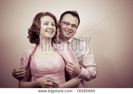 Young Beautiful Happy Couple Smiling
