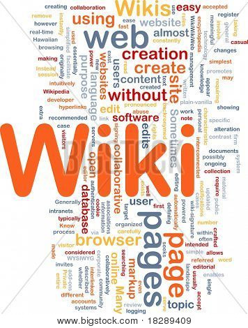 Background concept wordcloud illustration of wiki