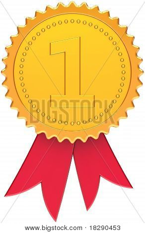 First place award golden with red ribbon