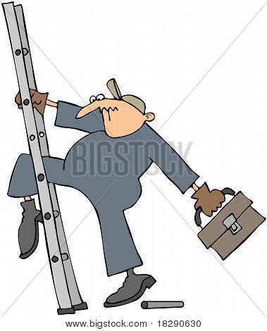 Worker Slipping On A Broken Ladder