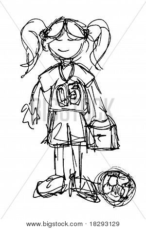 Sketch Of Little Football Or Soccer Player