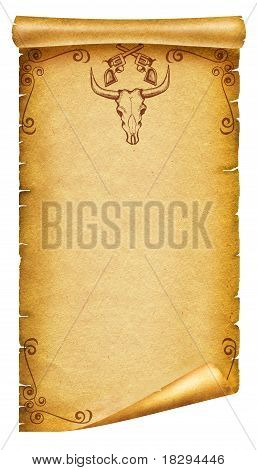 Old Paper Texture With Cow Skull Decoration And Guns  For Text