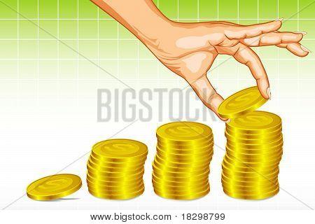 human making coin bar graph