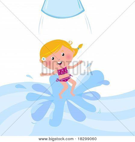 Glücklich lächelnd Kid springen vom Wasser Folie Rohr / Aqua Park.