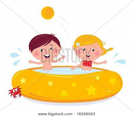 Little Girl And Boy Splashing In The Swimming Pool - Isolated On White.