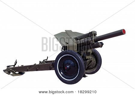 World War Two Vintage Rarity Soviet Howitzer M30 Isolated On White Background