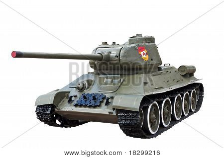 Worlsd War Two Legendary Guards Soviet Tank T34 Isolated Over White Background