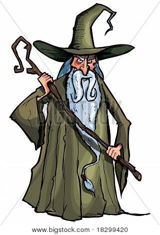 Cartoon Wizard With Staff