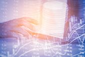 Double Exposure Business Man On Stock Financial Exchange. Stock Market Financial  Indices On Led. Ec poster