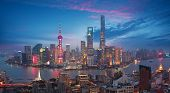Aerial Photography At Shanghai Bund Skyline Of Dusk poster