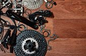 Many Different Metal Parts And Components Of The Running Gear Of A Sports Bike poster