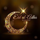 Eid-ul-adha Mubarak Feast Of The Sacrifice Golden Dotted Design Decorated Crescent Moon And Glowing poster