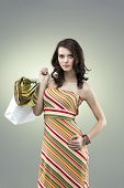 Seductive Woman Looking Tall Stripes Dress