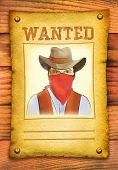 Wanted Poster With Bandit Face In Red Mask On Wood Wall