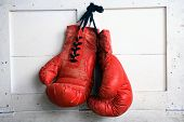 stock photo of boxing ring  - red vintaged used fight  Boxing Glove 1980 - JPG