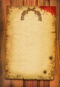 picture of appaloosa  - Old paper poster background with guns and blood on white - JPG