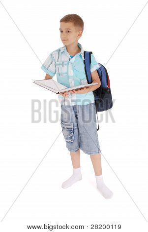 Boy With A Backpack Holds The Book