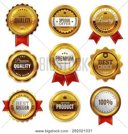 poster of Gold Badges Seal Quality Labels. Sale Medal Badge Premium Stamp Golden Genuine Emblem Guarantee Roun