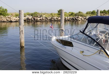 White Fishing Boat Docked