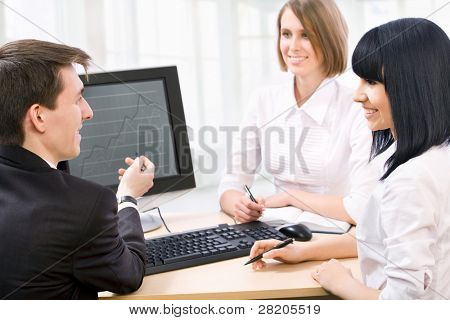 Picture of attractive businesswoman pointing her fingers