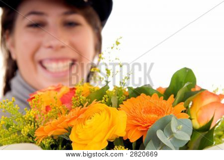 Young Woman Bouquet Flower