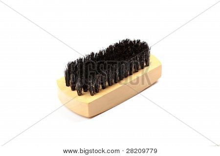 Wooden Brush For Cleaning Clothes Isolated On White Background.