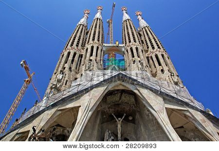 Sagrada Familia Gothic Temple Building. Barcelona, Spain.2009.