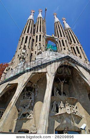Sagrada Familia Gothic Temple Building. Barcelona, Spain.2009.