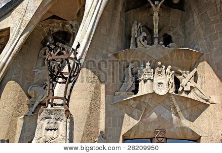 Sculptures By Gaudi. Sagrada Familia Church. Barcelona, Spain.