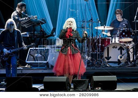 CLARK, NJ - SEPT 17: Singer Deborah Harry and the band Blondie perform at the Union County Music Fest on September 17, 2011 in Clark, NJ. The band will tour to support their release Panic of Girls.