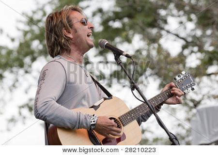 CLARK, NJ - SEPT 17: Cy Curnin performs at the Union County MusicFest on September 17, 2011 in Clark, NJ. Curnin, the lead singer of The Fixx has released newest solo work titled 'The Horse's Mouth'.