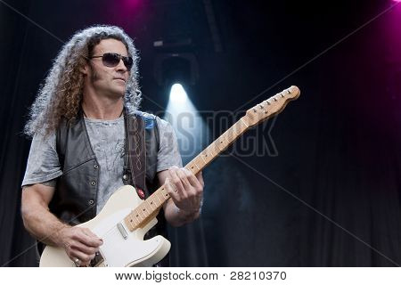 CLARK, NJ - SEPT 17: Guitar player Markus Wolfe performs with The Paul Rodgers Band at the Union County Music Fest on September 17, 2011 in Clark, NJ.