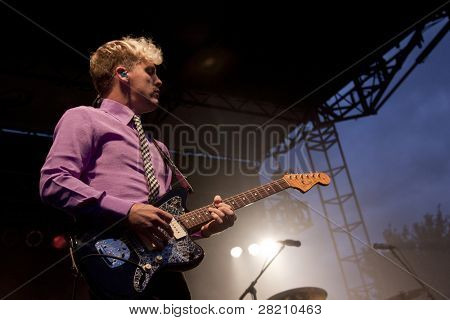CLARK, NJ - SEPT 17: Guitarist Chris Allen of the band Neon Trees performs at the Union County Music Fest on September 17, 2011 in Clark, NJ.